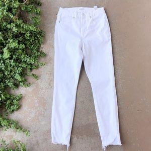 Good American Good Leg Crop White Fray Skinny Jean